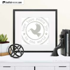 The beautiful poster shows a dove in a circle painted in grey tones. The white dove is a very powerful symbol for Hope, Love, Peace And Joy. Hope Love, Peace And Love, Earth Poster, Beautiful Posters, Pray For Us, White Doves, Peace On Earth, Cool Posters, Symbols