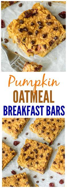 Pumpkin Peanut Butter Oatmeal Breakfast Bars. Healthy, filling, and absolutely delicious! Perfect for on-the-go breakfasts and snacks. We added chocolate chips and dried cranberries. {Gluten Free, Dairy Free, Vegan!} Recipe at http://wellplated.com /wellplated/