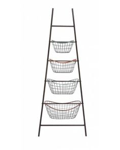 Metal Leaning Wire Basket Rack  will definitely come in handy. With a ladder like body that leans and has baskets on each step—this creation is indeed ingenious. With a total of four baskets, this rack if utilized with intelligence can be very amazing.