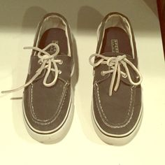 Worn once Sperry Top siders! ☀️ Worn once very minimal wear Navy Canvas Sperry top siders! In excellent condition. Sperry Top-Sider Shoes Flats & Loafers