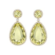 Stunning pear drop lemon quartz and pretty round yellow beryl surrounded by delicate diamonds set in 18ct yellow gold make these truly beautiful earrings.