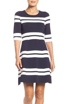 Main Image - Eliza J Stripe Stretch Knit Fit & Flare Dress (Regular & Petite)