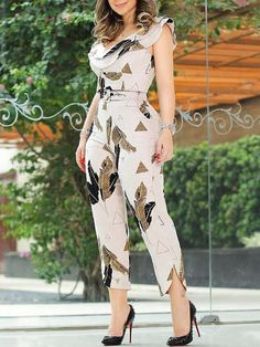2020 Summer Women Elegant Sleeveless V-Neck Casual Jumpsuit Slim Fit Leaf Print Layered Ruffle Split Leg Jumpsuit Jumpsuit Outfit, Casual Jumpsuit, Black Jumpsuit, Elegant Jumpsuit, Sequin Jumpsuit, Bodycon Jumpsuit, Pant Jumpsuit, Jumpsuit Style, Fashion Clothes