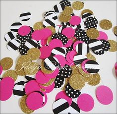 Bachelorette Party Confetti In Hot Pink, Black, White And Gold Glitter - Jaclyn Peters Designs - 2