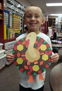 Turkeys with pattern blocks #kidscraft thanksgiving