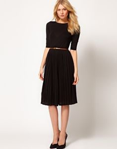 Enlarge ASOS Midi Dress With Pleated Skirt