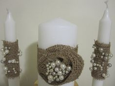 Wedding Unity Candles  Burlap and Pearls  by frenchcountry1908, $25.00