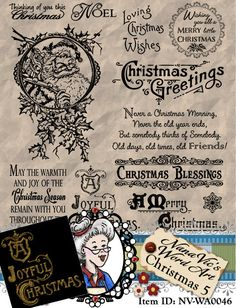 Description: 10 wonderful Christmas sentiments for you to choose from in this Christmas set. Many have been inspired by vintage postcards. Bonus stamps include Santa surrounded by holly, Snowflake and a Gold Embossed stamp.