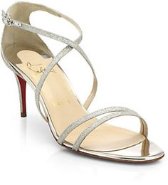 Christian Louboutin Glittered Leather Sandals on shopstyle.co.uk