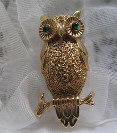 Trifari Owl Brooch by mimiyaya on Etsy, $14.00