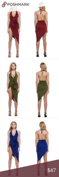 Summer V Neck Backless High Slit Bandage Dress Brand New. Comes with multiple colors Blue / Wine Red / Army Green. Available sizes Small/Medium/Large. I do buy & sell so most of my merchandise are NEW Dresses Mini