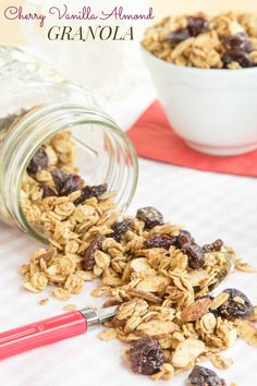 Cherry Vanilla Almond Granola - sweet and nutty with lots of crunch and chewy bits. Perfect for topping your yogurt!