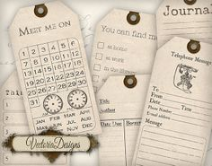 Organizing Printable Journaling Tags journaling shabby chic cards printable gift tags digital Collage Sheet 365