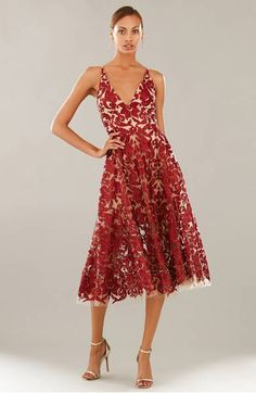 Dress the Population Blair Embellished Fit & Flare Dress Shimmering sequins embellish an elegant lace dress in a flattering fit-and-flare silhouette with a plunging V-neck. #affiliate #wedding #bridesmaid #dress #gown #formal #prom