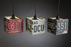 Custom handmade license plate pendant light shade. Send me 2 - 6 X 12 license plates and I will create you your very own pendant shade. Some license plate are made of aluminum and some steel, make sure the 2 plate are made of the same material and are close in weight. This helps with the
