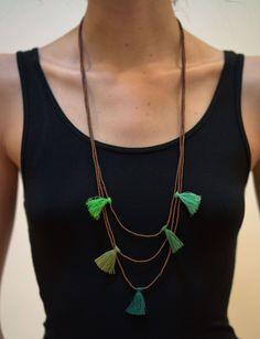 Fair Trade Hand Made Copper Color Beads Necklace With Green Tassels – Harem Pants