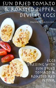 Sun Dried Tomato Deviled Eggs at FreshBitesDaily.com
