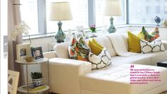 neutral living room with pops of color- adore home