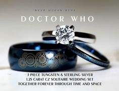 "If I ever have a need for more jewelry, it had better be Doctor Who themed. Blue Doctor Who his and her wedding rings in blue tungsten with matching laser engraved Gallifreyan: ""Together forever through time and space"" Ring Set, Ring Verlobung, Solitaire Ring, Dr Who, Wedding Sets, Wedding Bands, Blue Wedding, Geek Wedding Rings, Star Wedding"