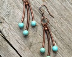 Turquoise Earrings Copper Teardrop Hoop Earrings by RusticaJewelry