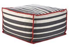 "Jiti, Roads Pouf, Red wool trim with charcoal & white stripes, 24""W x 24""D x 13""H  299 - orig. 650"