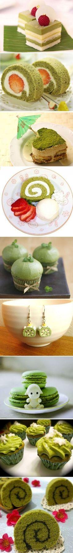 Matcha cakes that are amazing! Green Desserts, Green Tea Recipes, Sweet Recipes, Cupcakes, Cupcake Cakes, Golden Trio, Matcha Cake, Japanese Sweets, Matcha Green Tea