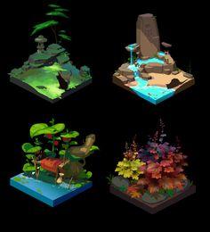 little thicket, Airou Vv - Backgrounds/Environment - Game Art Fantasy Concept Art, Game Concept Art, Landscape Concept, Landscape Art, Prop Design, Game Design, Game Level Design, Digital Painting Tutorials, Art Tutorials