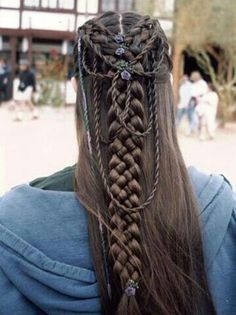 two dutch braids combined into a five strand braid with rope braids as accents --> Medieval Hair (14)