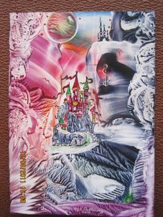 Encaustic Art,titled-DISNEY CASTLE.using beeswax and iron and stylus.size A6,img 0536,done in 2011.By Peter Chattaway.