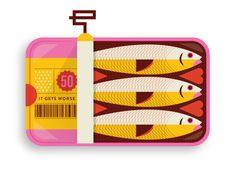 Dribbble - sardines_d.jpg by Bailey Sullivan Heart Illustration, Graphic Illustration, Music Drawings, Encaustic Art, Cute Packaging, Branding, Food Illustrations, Packaging Design Inspiration, Animal Drawings