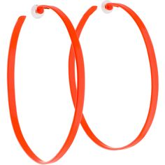 Pre-owned Alexis Bittar Oversized Neon Orange Hoop Earrings ($125) ❤ liked on Polyvore featuring jewelry, earrings, alexis bittar, neon hoop earrings, oversized jewelry, preowned jewelry and pre owned jewelry