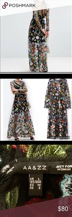 """🔥SALE Runway Floral Embroidered Sheer Maxi💥💝 Beautiful black mesh/Lace gown e/colorful floral embroidery. Body Camy slip included. Used only once """"Like New"""". The tag says L in GB, USA: S but It feet perfect to me I'm size M or 8. Dresses Maxi"""
