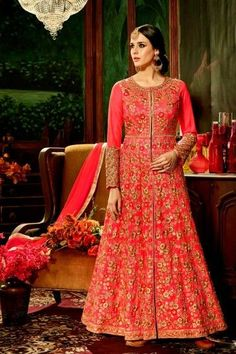 Net Anarkali Suit With Dupatta In Rose Pink - DMV15137