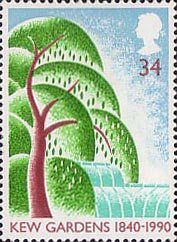 150th Anniversary of Kew Gardens 34p Stamp (1990) Willow Tree and Palm House
