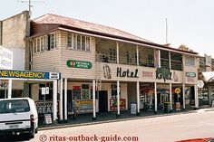 Royal Hotel in Longreach Queensland. The population of 4500 is far out numbered by the million cattle and sheep farmed in the district.