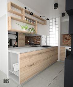 #lustrowkuchni #nowoczesnakuchni oryginalna kuchnia, jasne drewno, cegła, czarne akcenty