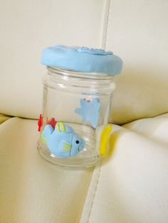 fimo fishes on glass