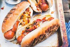 Cowboy Hot Dogs - Onion, bacon, cheddar, barbecue sauce and more from  25 Hot Dogs That Went Above And Beyond