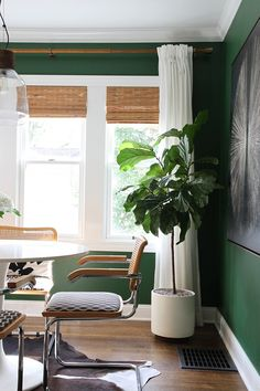 Roundup : Faux Plants & Greenery – Room for Tuesday - Modern Decor, House Tweaking, Room, House, Interior, Home, Bamboo Roman Shades, Dining Chairs, Cantilever Dining Chair