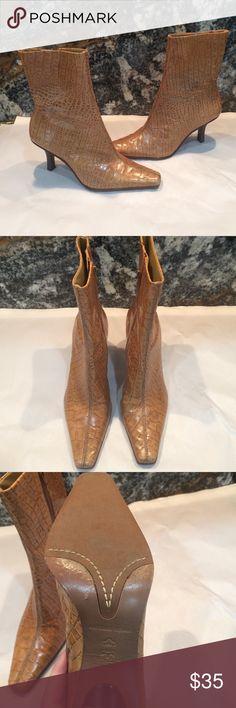 "Antonio Melani heeled boots like new Antonio Melani leather boots.  3"" heel 9 1/2"" boot height. Like new ANTONIO MELANI Shoes Heeled Boots"
