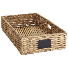 Home storage that isn't made of plastic? Yes, please. Our Bryant baskets with chalkboard labels are hand-woven from natural water hyacinth fibers that are durable and downright good-looking. Thanks to its long, flat shape, this basket slides easily under a bed, and has handles for easy access when you need the goods again.