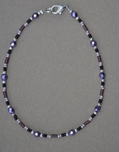 Jewelry - Anklets - Purple Crystal Beaded Anklet by JewelryArtByGail on Etsy