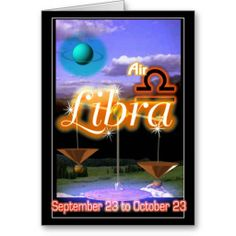 Libra Zodiac Birthday card