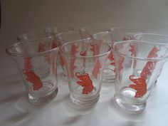 "10 MCM Pink Elephant 3"" Cocktail Barware Shot Swig Glasses Dancing on Hind Legs by FabulousVintageHats on Etsy"