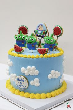 Toy Story Little Green Men Birthday Cake Angel Food Cake with Fresh Mangoes Fillings Icing Sugar Cookies Decorations Buzz Lightyear, Little Green Men, Watermelon cookies
