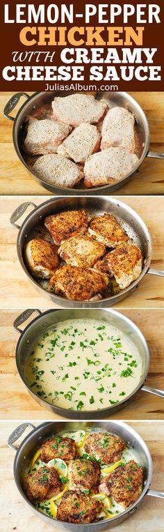 Baked Lemon-Pepper Chicken Thighs smothered in cheesy, garlic-lemon cream sauce (Parmesan, Mozzarella)! YUM! Gluten free dinner.