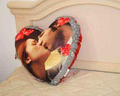Cuscino a forma di cuore con foto