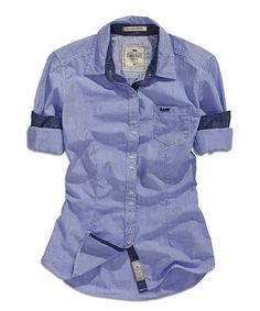 Look at this #zulilyfind! Crown Blue Roll-Tab Button-Up #zulilyfinds