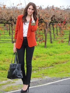 Love this burnt orange blazer! Looks classy with white top, black pants, heels and bag. kacieskloset.blogspot.com