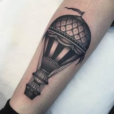Blackwork Hot Air Balloon Tattoo by Jean Le Roux